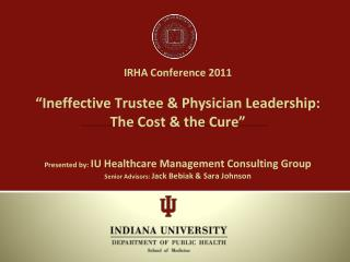 IU Healthcare Management Consulting Group