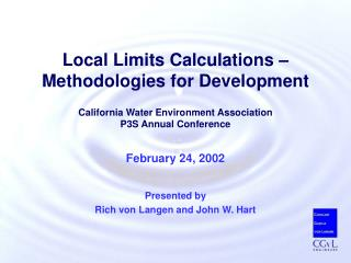 Local Limits Calculations – Methodologies for Development