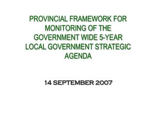 KPA 1: Municipal Transformation and Organisational Development