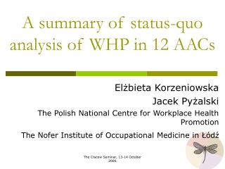 A  summary of status-quo analysis of  WHP  in 12  AACs
