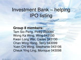 Investment Bank – helping IPO listing