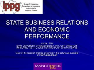 STATE BUSINESS RELATIONS AND ECONOMIC PERFORMANCE