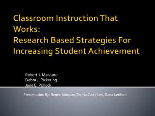 Classroom Instruction That Works: Research Based Strategies For Increasing Student Achievement