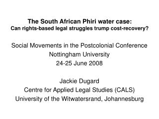 The South African Phiri water case:  Can rights-based legal struggles trump cost-recovery?