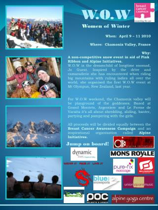 When:  April 9 – 11 2010 Where:  Chamonix Valley, France Why: