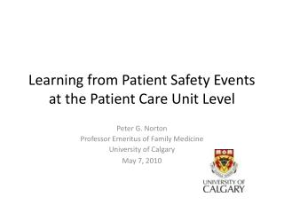Learning from Patient Safety Events at the Patient Care Unit Level