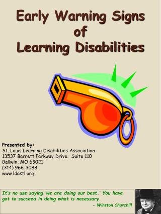 Early Warning Signs  of  Learning Disabilities