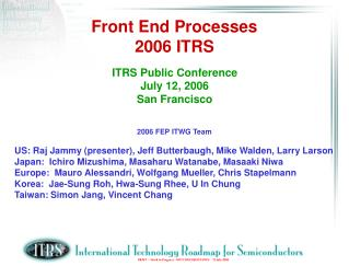 Front End Processes 2006 ITRS
