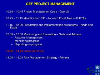 GEF PROJECT MANAGEMENT