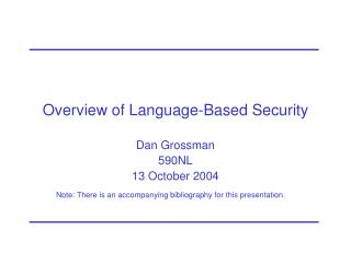 Overview of Language-Based Security