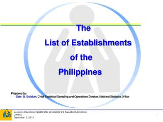 The         List of Establishments  of the  Philippines