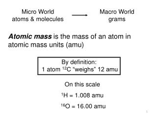 "By definition:  1 atom  12 C ""weighs"" 12 amu"