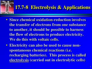 17.7-8  Electrolysis & Applications