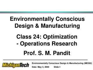 Environmentally Conscious Design & Manufacturing