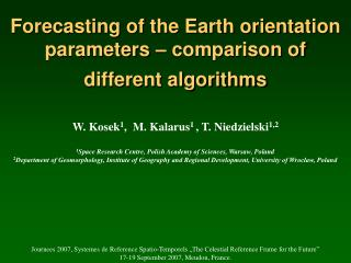 Forecasting of the Earth orientation parameters – comparison of different algorithms