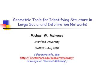 Geometric Tools for Identifying Structure in Large Social and Information Networks