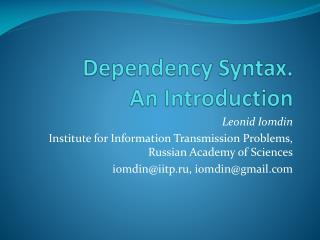 Dependency Syntax.  An Introduction