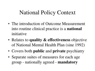National Policy Context