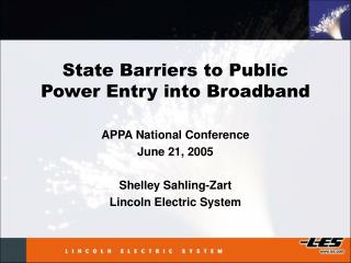 State Barriers to Public Power Entry into Broadband