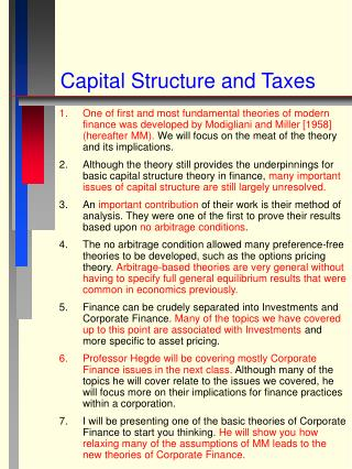 Capital Structure and Taxes