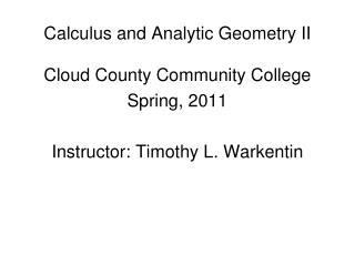 Calculus and Analytic Geometry II