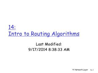 14:  Intro to Routing Algorithms
