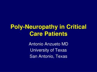 Poly-Neuropathy in Critical Care Patients