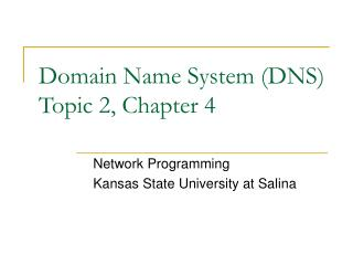 Domain Name System (DNS) Topic 2, Chapter 4