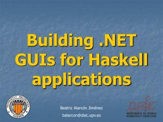 Building .NET GUIs for Haskell applications