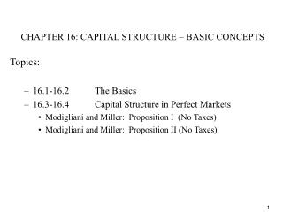 CHAPTER 16: CAPITAL STRUCTURE – BASIC CONCEPTS