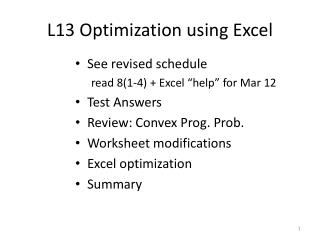L13 Optimization using Excel