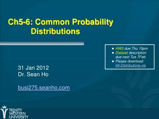 Ch5-6: Common Probability  		Distributions
