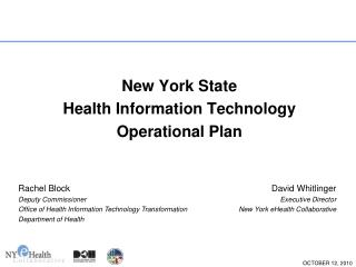 New York State Health Information Technology Operational Plan