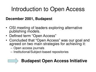 Introduction to Open Access