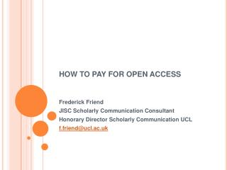HOW TO PAY FOR OPEN ACCESS