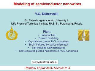 Modeling of semiconductor nanowires