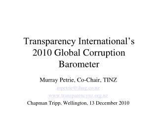 Transparency International's 2010 Global Corruption Barometer