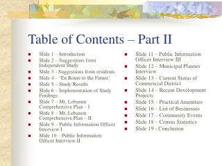 Table of Contents – Part II