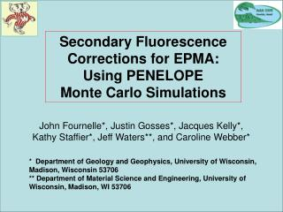 Secondary Fluorescence Corrections for EPMA: Using PENELOPE        Monte Carlo Simulations