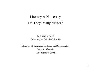 Literacy & Numeracy Do They Really Matter?