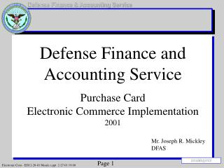 Defense Finance and Accounting Service Purchase Card  Electronic Commerce Implementation 2001