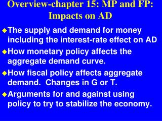 Overview-chapter 15: MP and FP: Impacts on AD