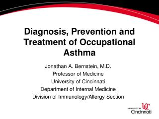 Diagnosis, Prevention and Treatment of Occupational Asthma