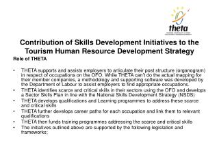 Contribution of Skills Development Initiatives to the Tourism Human Resource Development Strategy