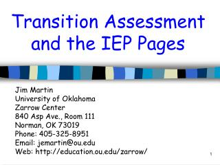 Transition Assessment and the IEP Pages