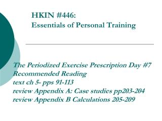 HKIN #446:  Essentials of Personal Training