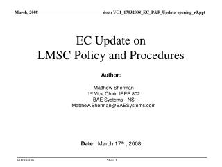 EC Update on LMSC Policy and Procedures