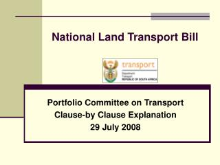 National Land Transport Bill
