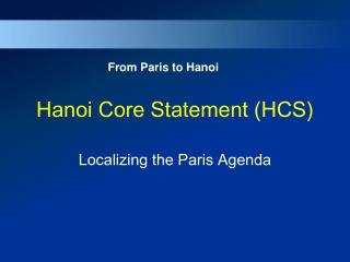 Hanoi Core Statement (HCS)