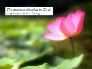 The greatest blessing in life is  in giving and not taking.